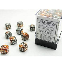 Chessex D6 Dice: Gemini 12mm Copper Steel/White (36)