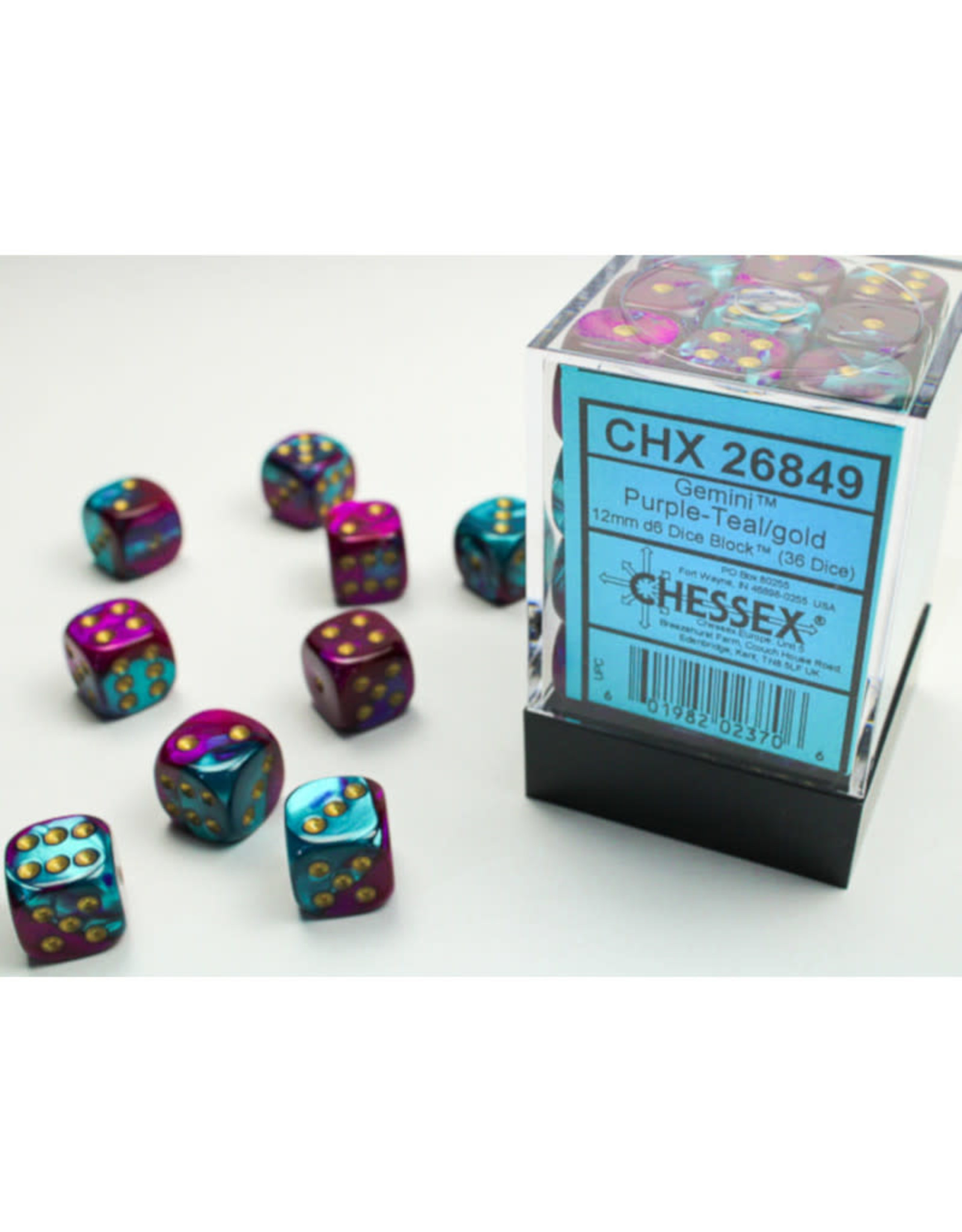 Chessex D6 Dice: 12mm Gemini Purple Teal/Gold (36)