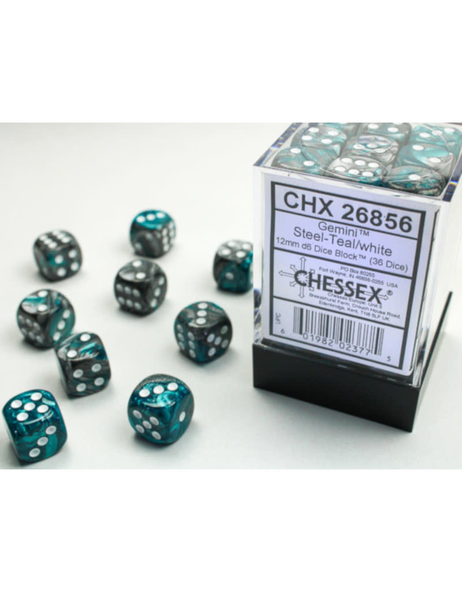 Chessex D6 Dice: 12mm Gemini Steel Teal/White (36)