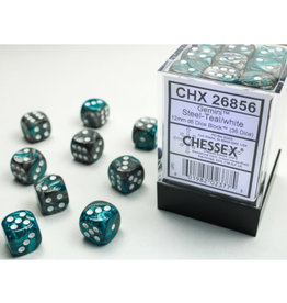 Chessex D6 Dice: Gemini 12mm Steel Teal/White (36)