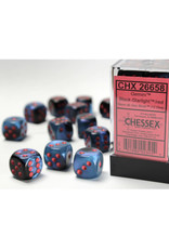 Chessex D6 Dice: 16mm Gemini Black Starlight/Red (12)