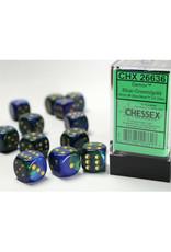 Chessex D6 Dice: 16mm Gemini  Blue Green Gold/Black (12)
