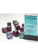 Chessex D6 Dice: 16mm Gemini Purple Teal/Gold (12)