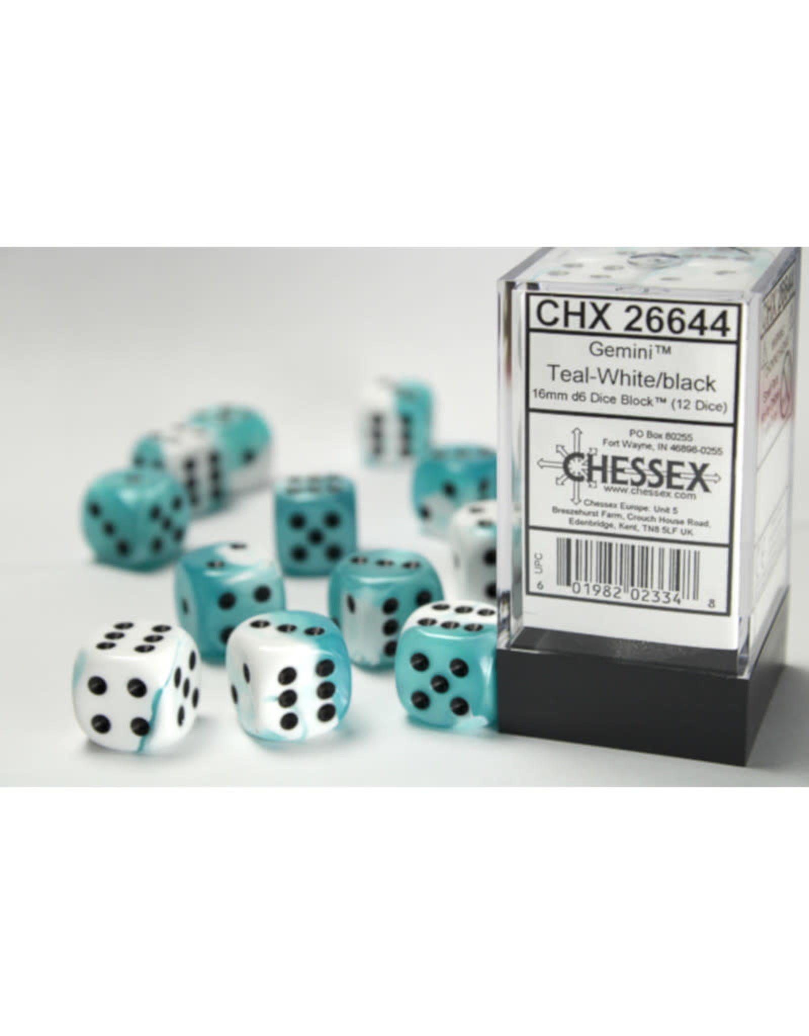Chessex D6 Dice: 16mm Gemini White Teal/Black (12)