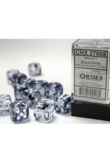 Chessex D6 Dice: 16mm Nebula Black/White Block (12)