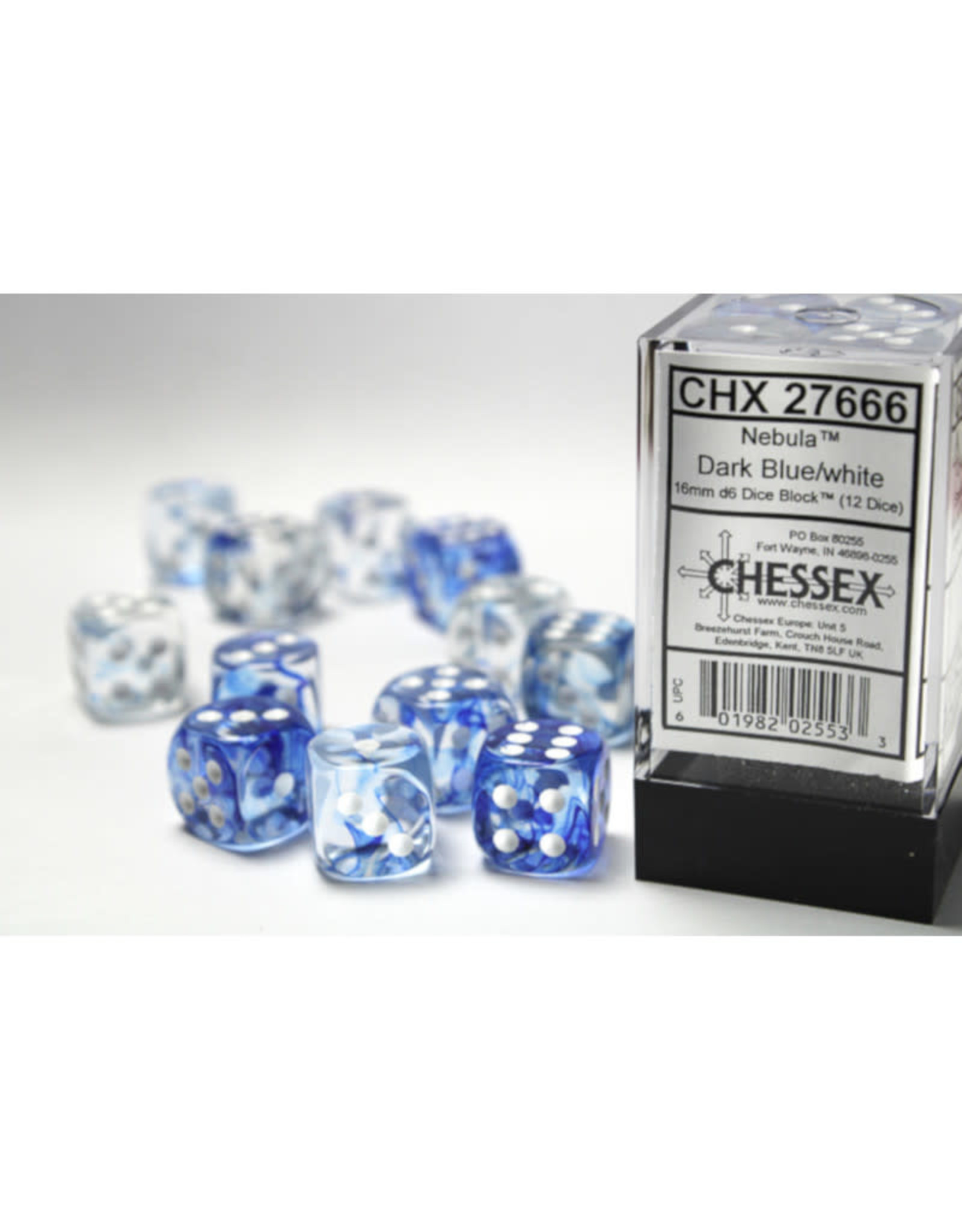 Chessex D6 Dice: 16mm Nebula  Dark Blue/White/Black (12)