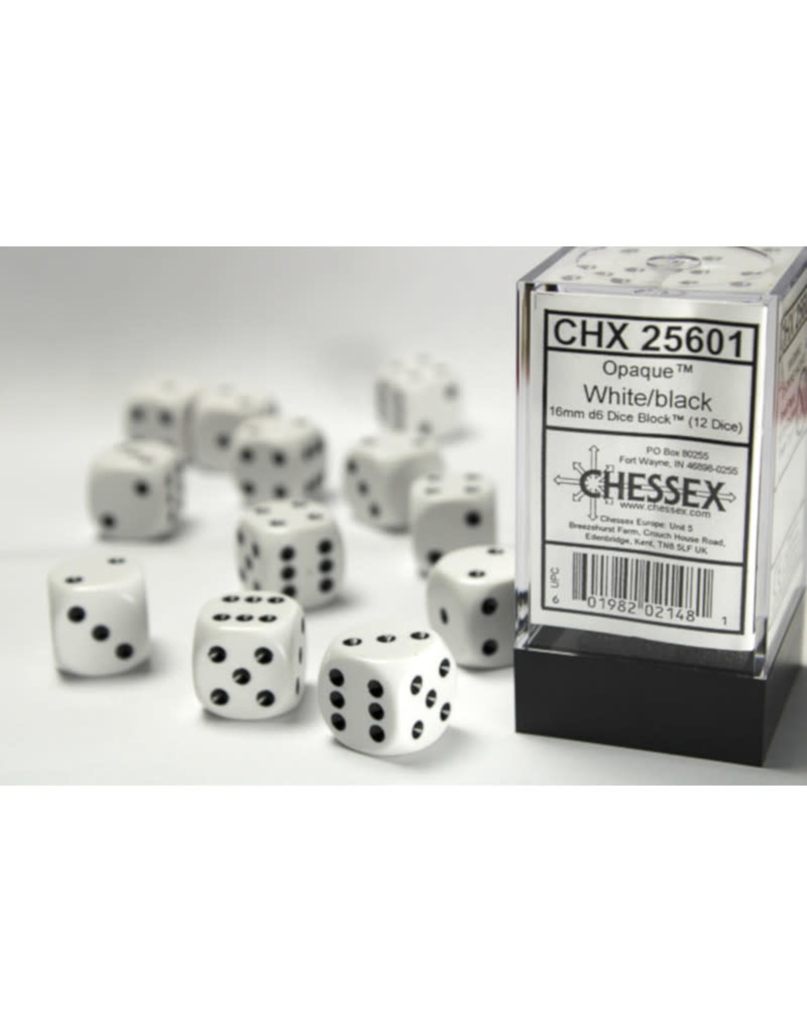 Chessex D6 Dice: 16mm Opaque White/Black (12)