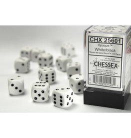 Chessex D6 Dice: Opaque 16mm White/Black (12)