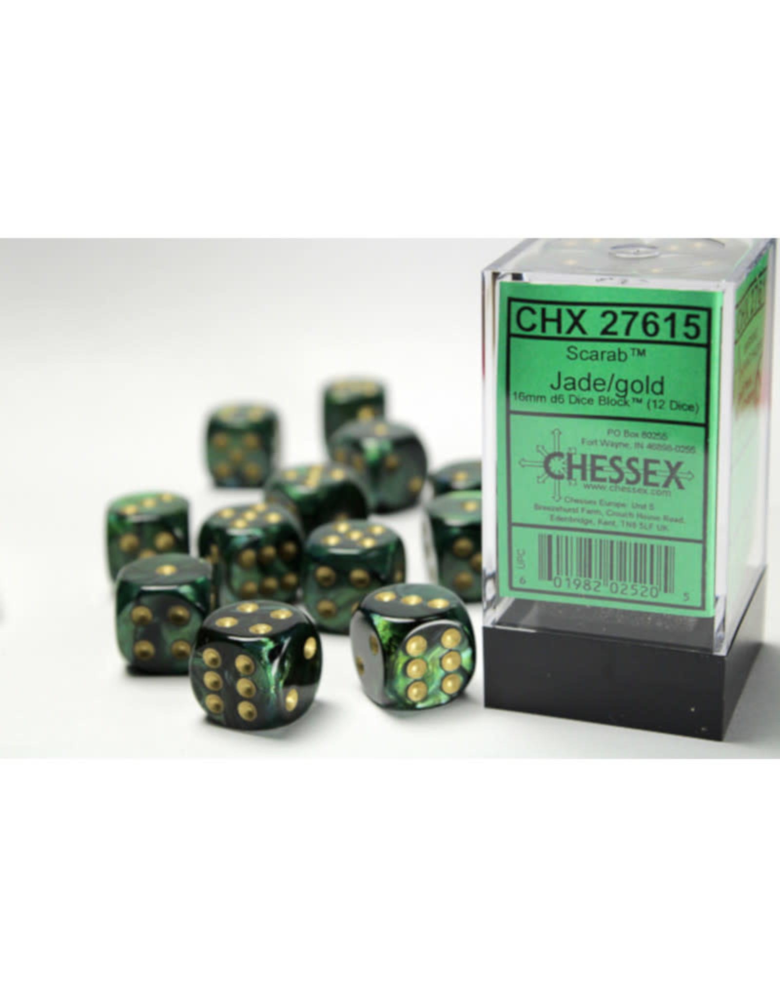 Chessex D6 Dice: 16mm Scarab Jade/Gold/Black (12)