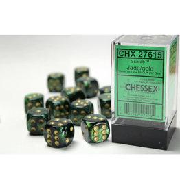 Chessex D6 Dice: Scarab 16mm Jade/Gold/Black (12)