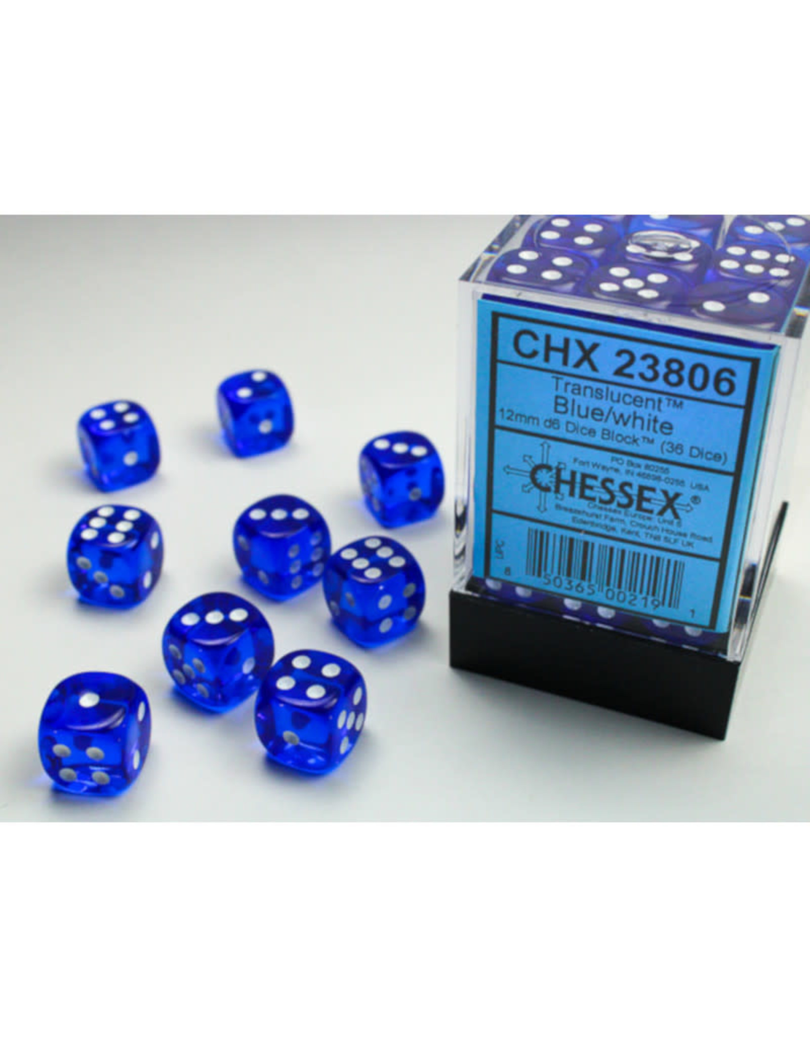 Chessex D6 Dice: 12mm Translucent Blue/White (36)