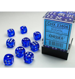 Chessex D6 Dice: Translucent 12mm Blue/White (36)