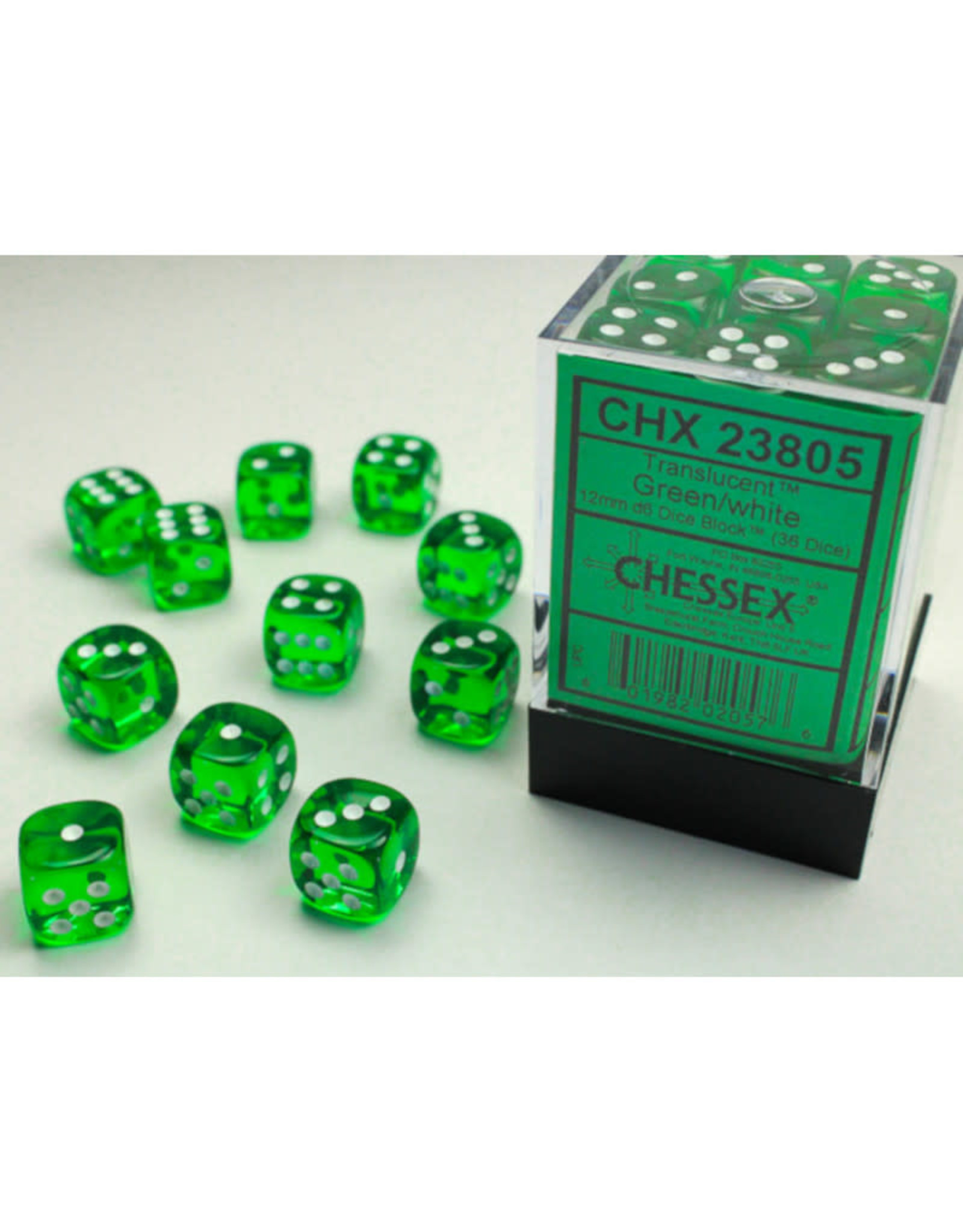 Chessex D6 Dice: 12mm Translucent Green/White (36)