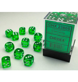 Chessex D6 Dice: Translucent 12mm Green/White (36)