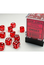 Chessex D6 Dice: 12mm Translucent Red/White (36)