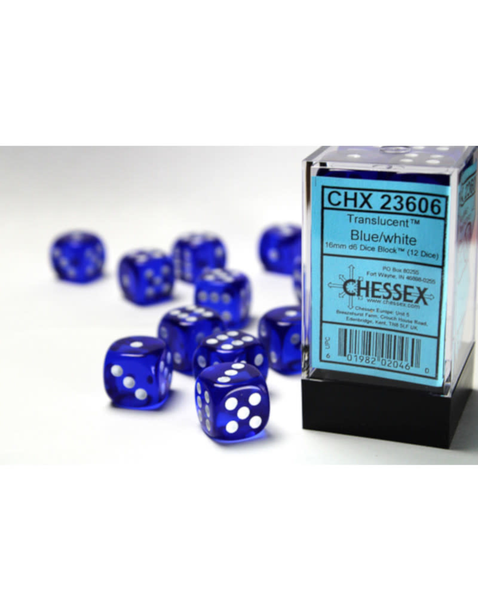 Chessex D6 Dice: 16mm Translucent Blue (12)