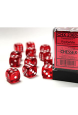 Chessex D6 Dice: 16mm Translucent Red (12)