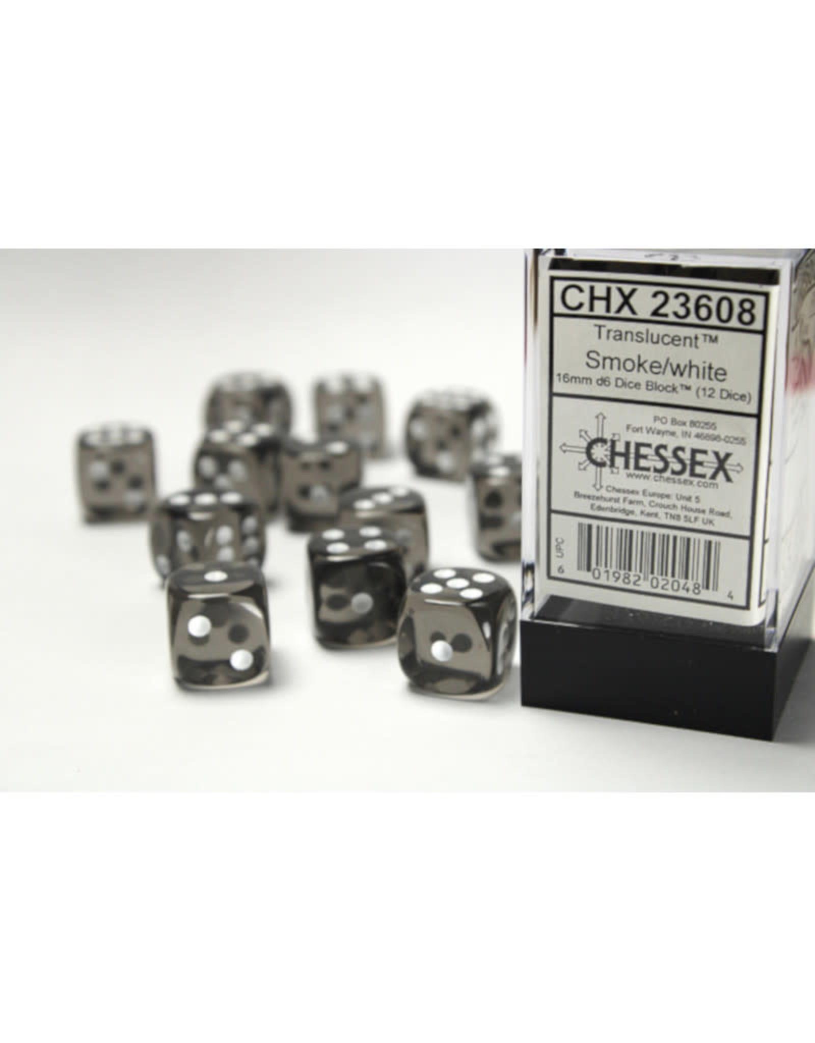 Chessex D6 Dice: 16mm Translucent Smoke (12)