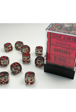 Chessex D6 Dice: 12mm Translucent Smoke with Red Pips  (36)