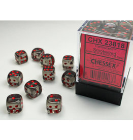 Chessex DICE D6 12MM CHX23818 SMOKE W RED
