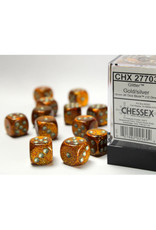 Chessex D6 Dice: 16mm Glittle Gold (12)