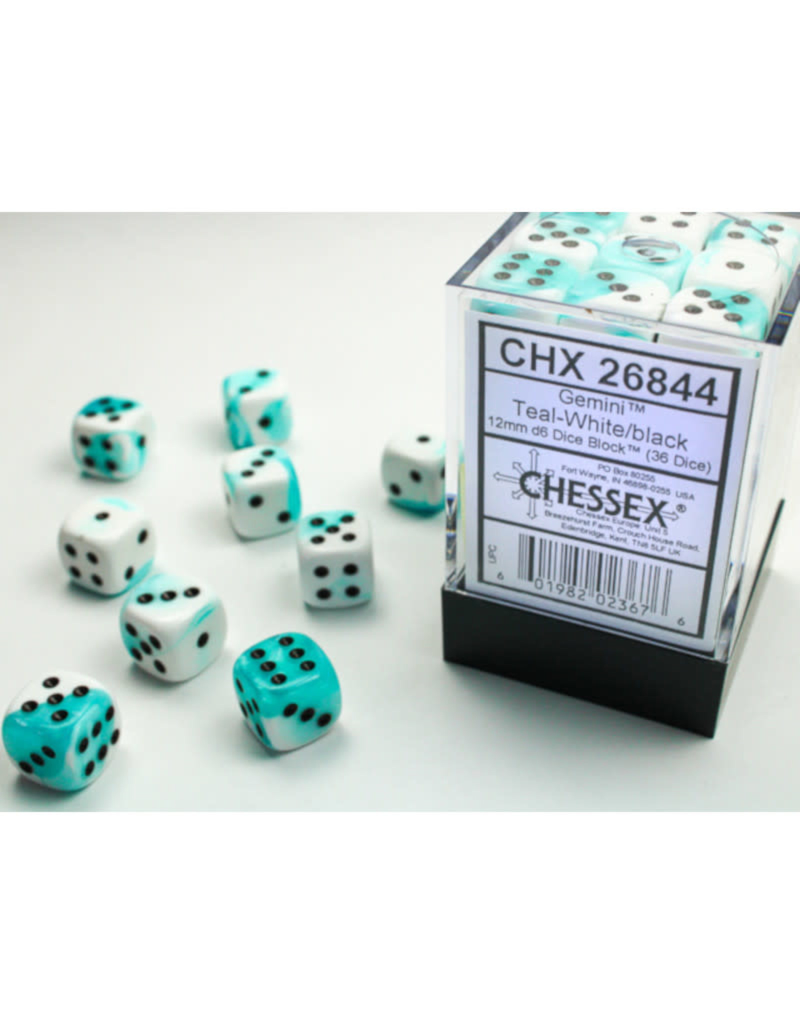 Chessex D6 Dice: 12mm Gemini Teal/White (36)