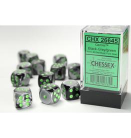 Chessex D6 Dice: 16mm Gemini Black Gray/Green (12)