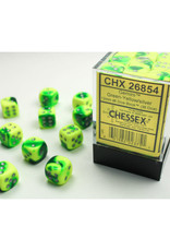 Chessex D6 Dice: 12mm Green Yellow/Silver (36)