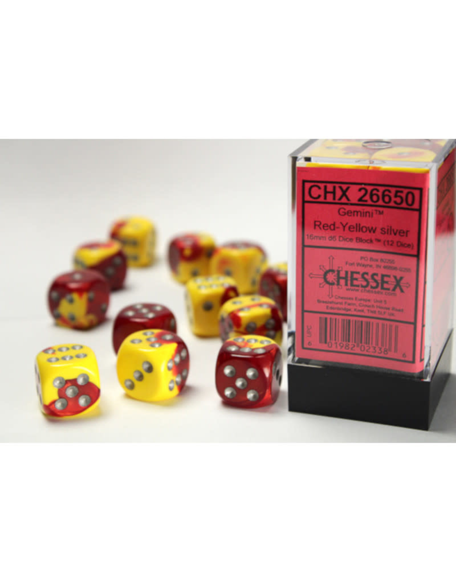 Chessex D6 Dice: 16mm Red Yellow/Silver (12)