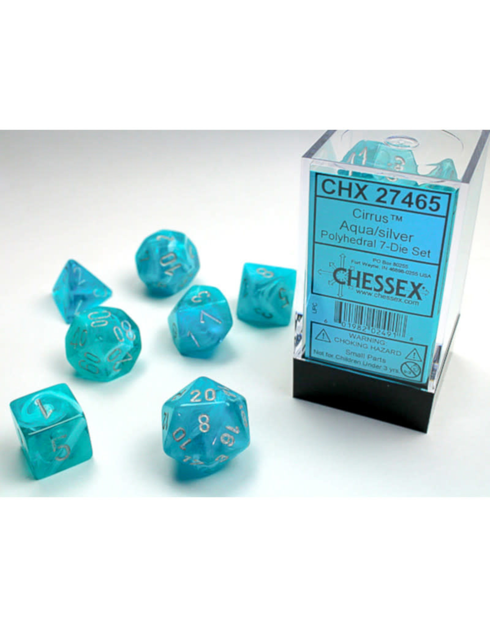 Chessex Polyhedral Dice Set: Cirrus Aqua/Silver (7)