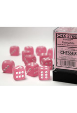 Chessex D6 Dice: Frosted 16mm Pink/White Block (12)