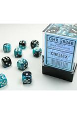Chessex D6 Dice: 12mm Gemini Black Shell/White (36)