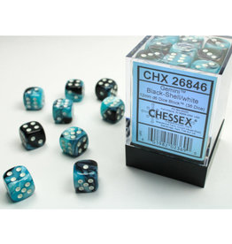 Chessex D6 Dice: 12mm Gemini Black Shell/White (36)