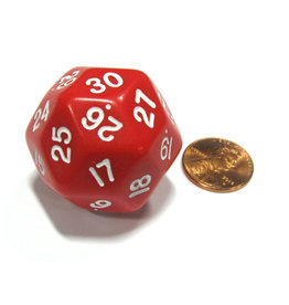 Koplow D30 Die: Opaque Triantakohedron Red/White