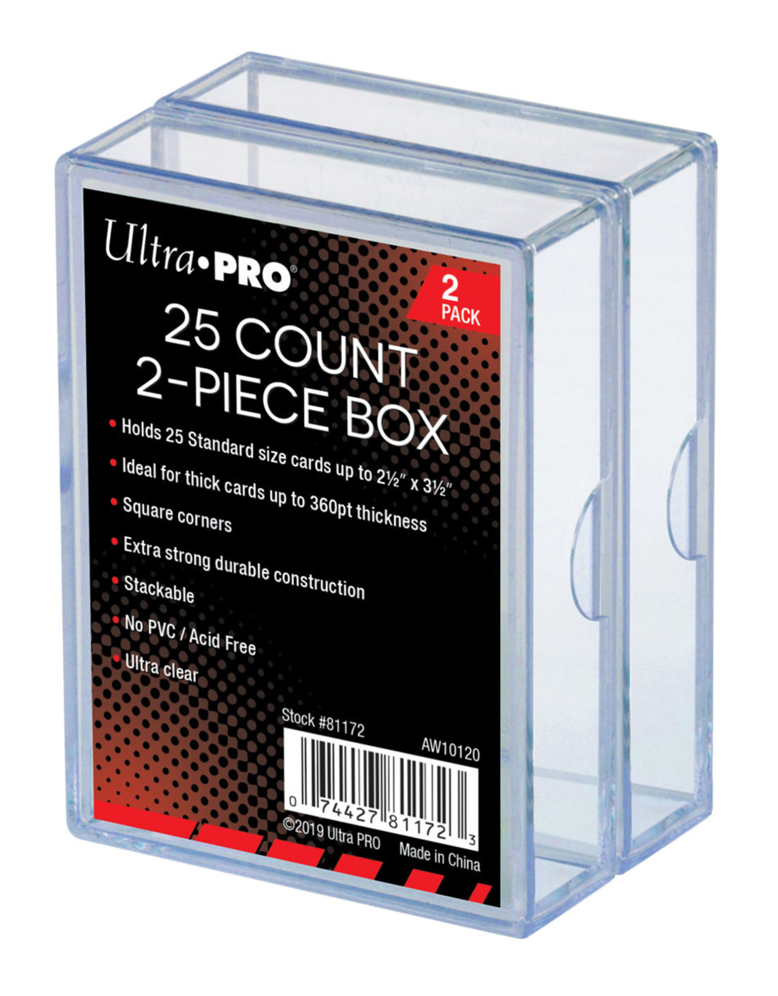 2-Piece 25 Count Clear Card Storage Box, 2 Pack