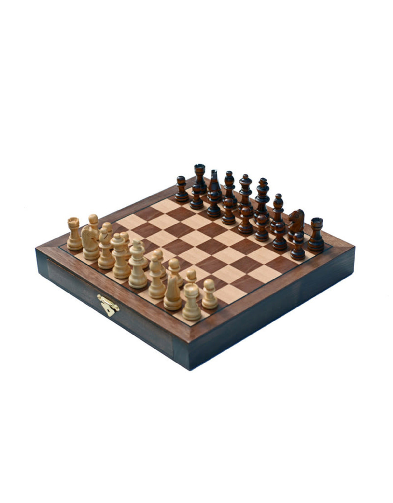 Travel Chess Set: 10 Inch Walnut Wooden Board with Drawers