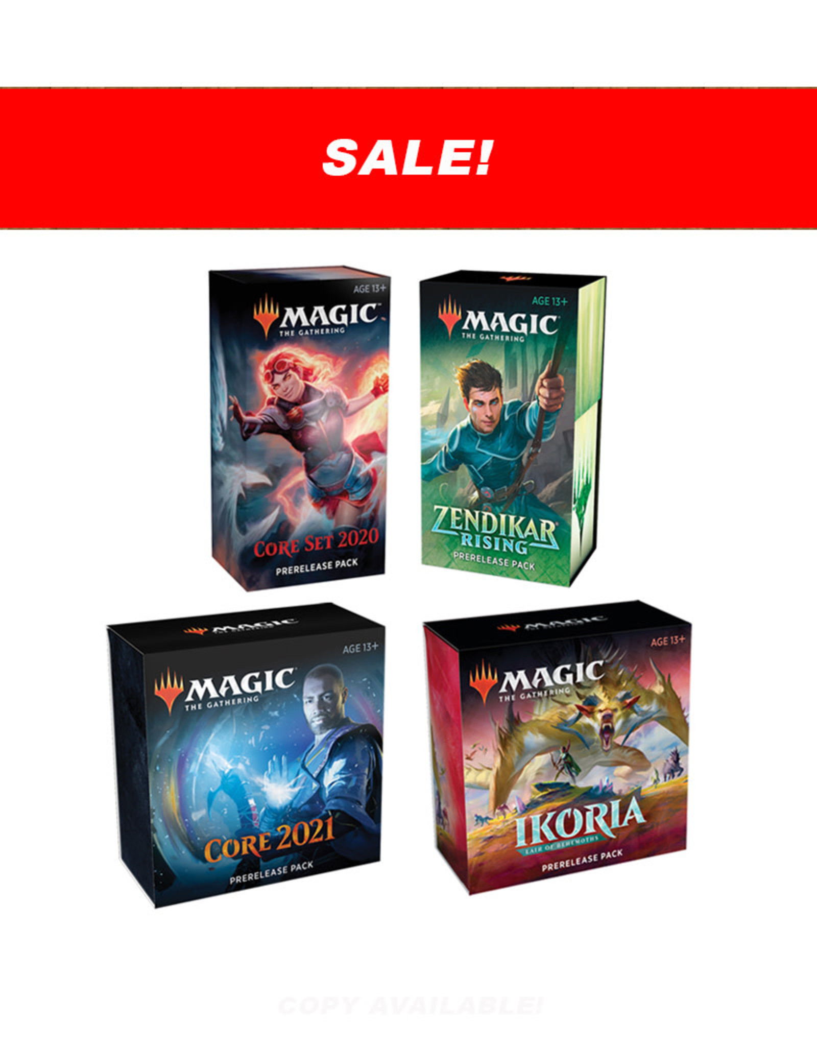 Wizards of the Coast MTG Prerelease 4-Pack Bundle (M20, M21, Ikoria, Zendikar Rising)