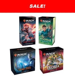 Wizards of the Coast MTG Prerelease Bundle: 4-Pack  (M20, M21, Ikoria, Zendikar Rising)