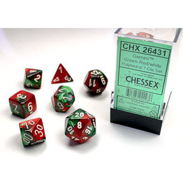 Chessex Polyhedral Dice Set: Gemini Green Red/White (7)