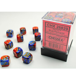 Chessex D6 Dice: 12mm Gemini Blue/Red (36)