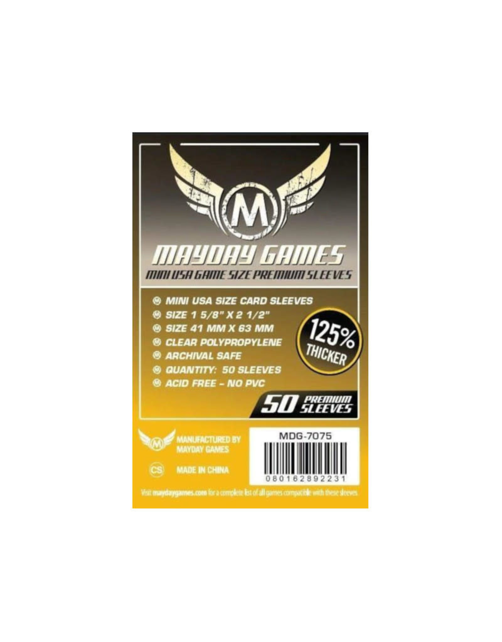 Mayday Games Sleeves: Mayday Premium Mini American (50) (Yellow)