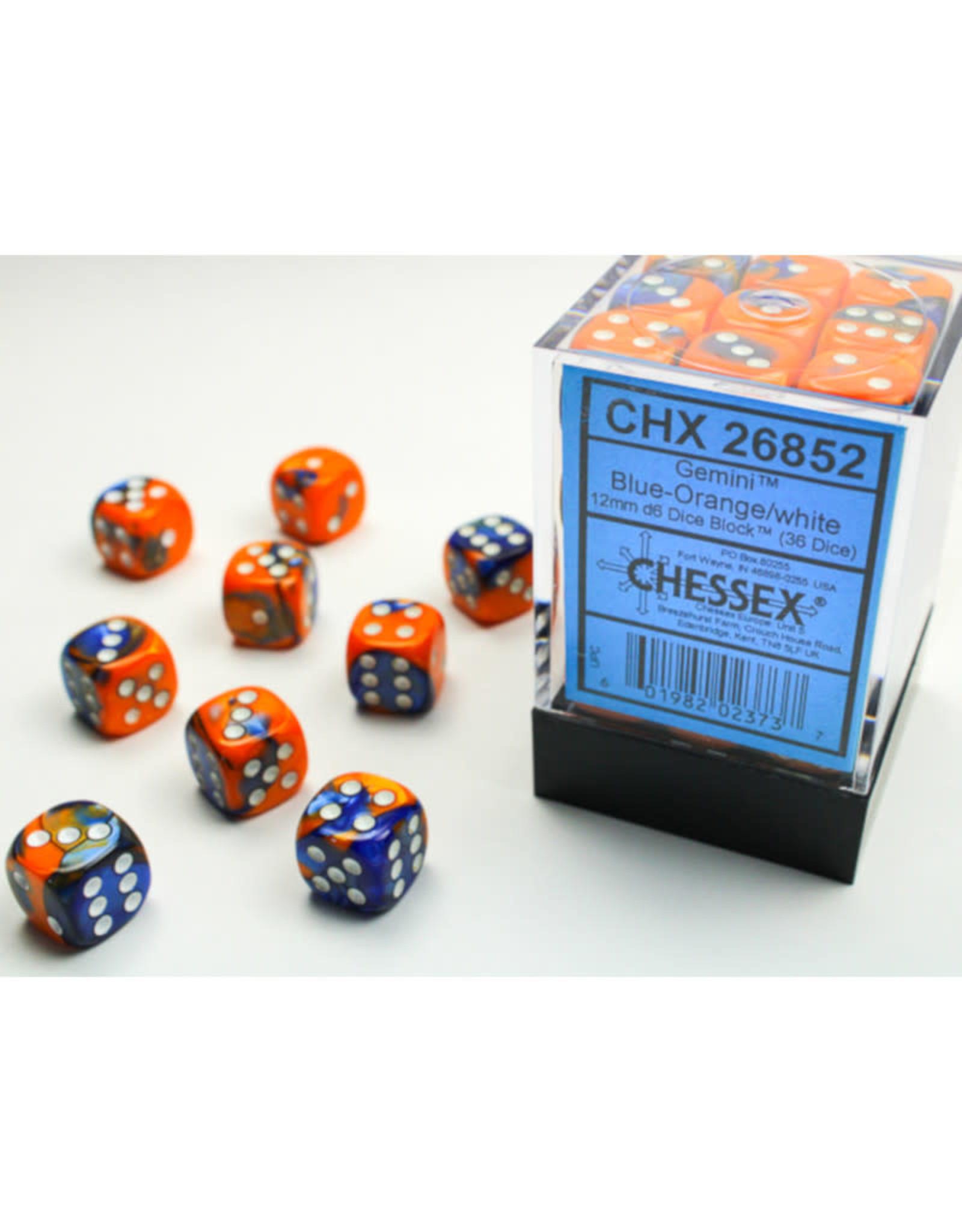 Chessex D6 Dice: 12mm Gemini Blue/Orange (36)