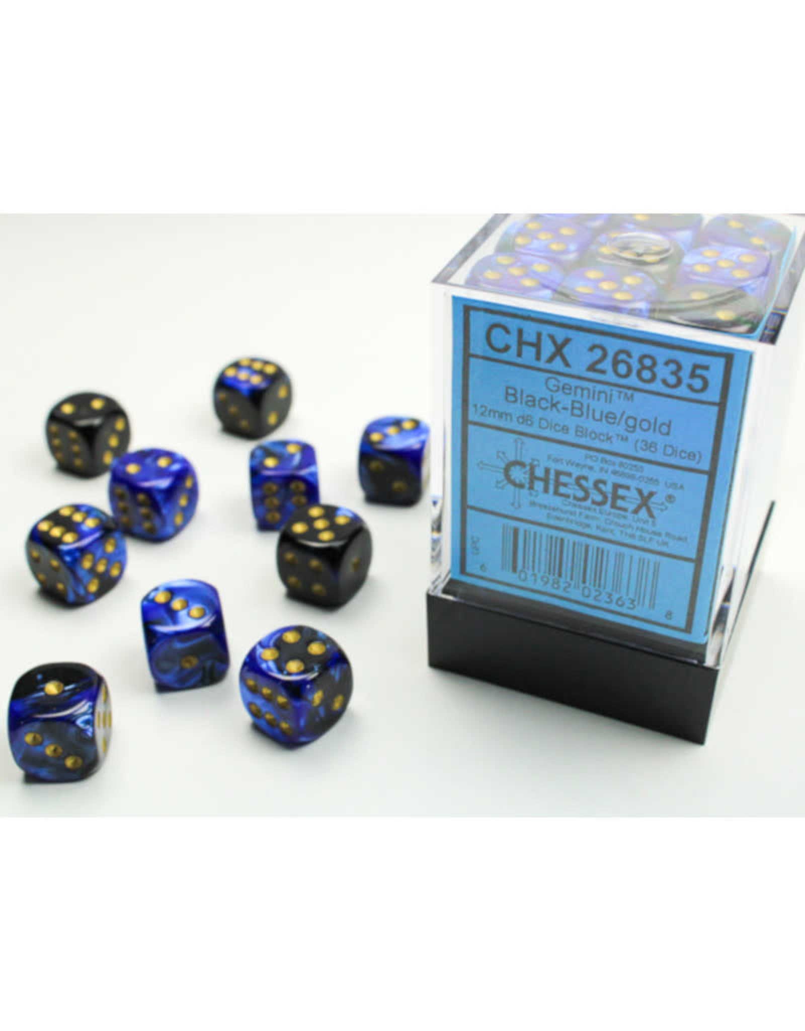 Chessex D6 Dice: 12mm Gemini Black/Blue (36)