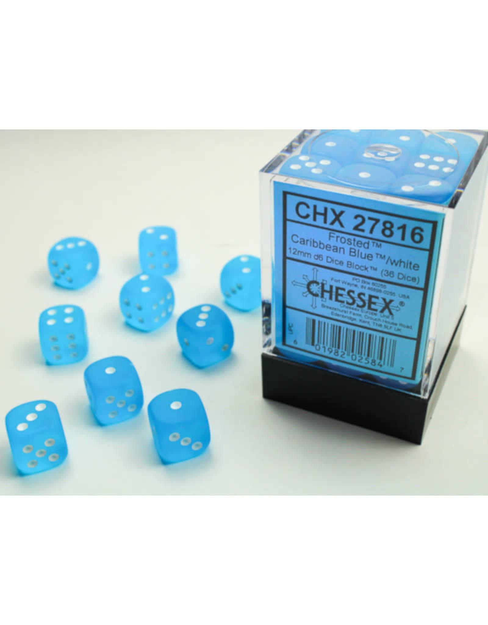 Chessex D6 Dice: 12mm Caribbean Blue (36)