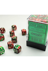 Chessex D6 Dice: 12mm Gemini Green/Red (36)