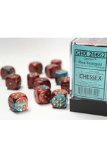 Chessex D6 Dice: 16mm Gemini Red/Teal (12)