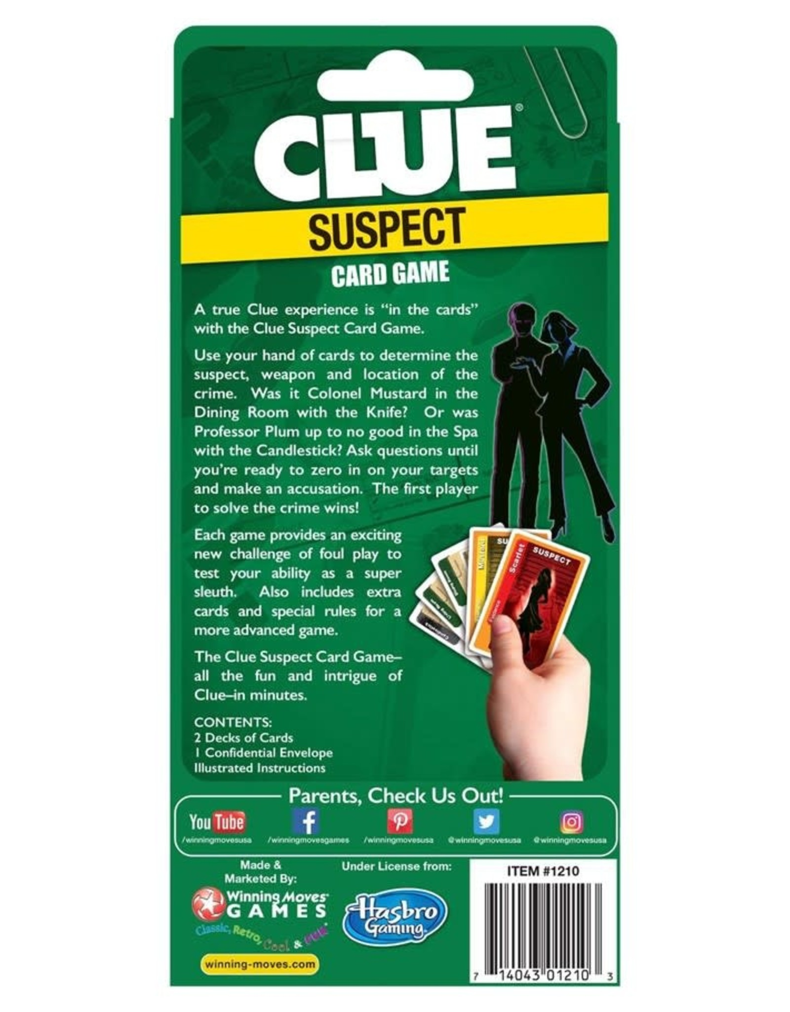 Winning Moves Clue Suspect Card Game