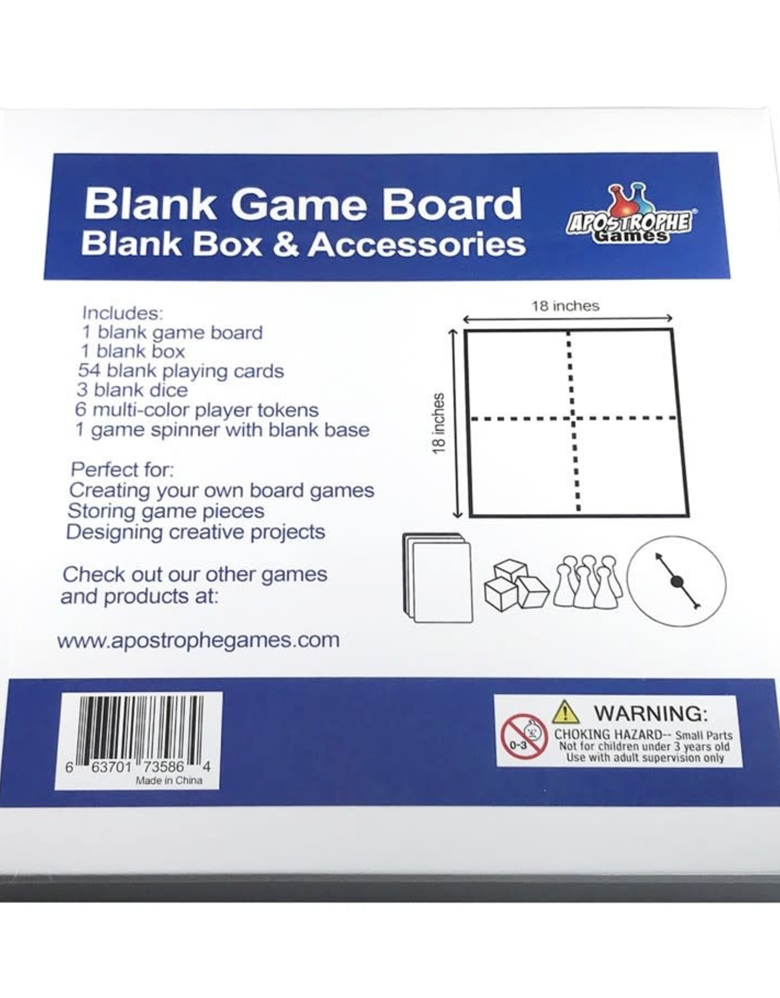 """Apostrophe Games Blank Game Box and Accessories  9.5""""x9.5"""""""