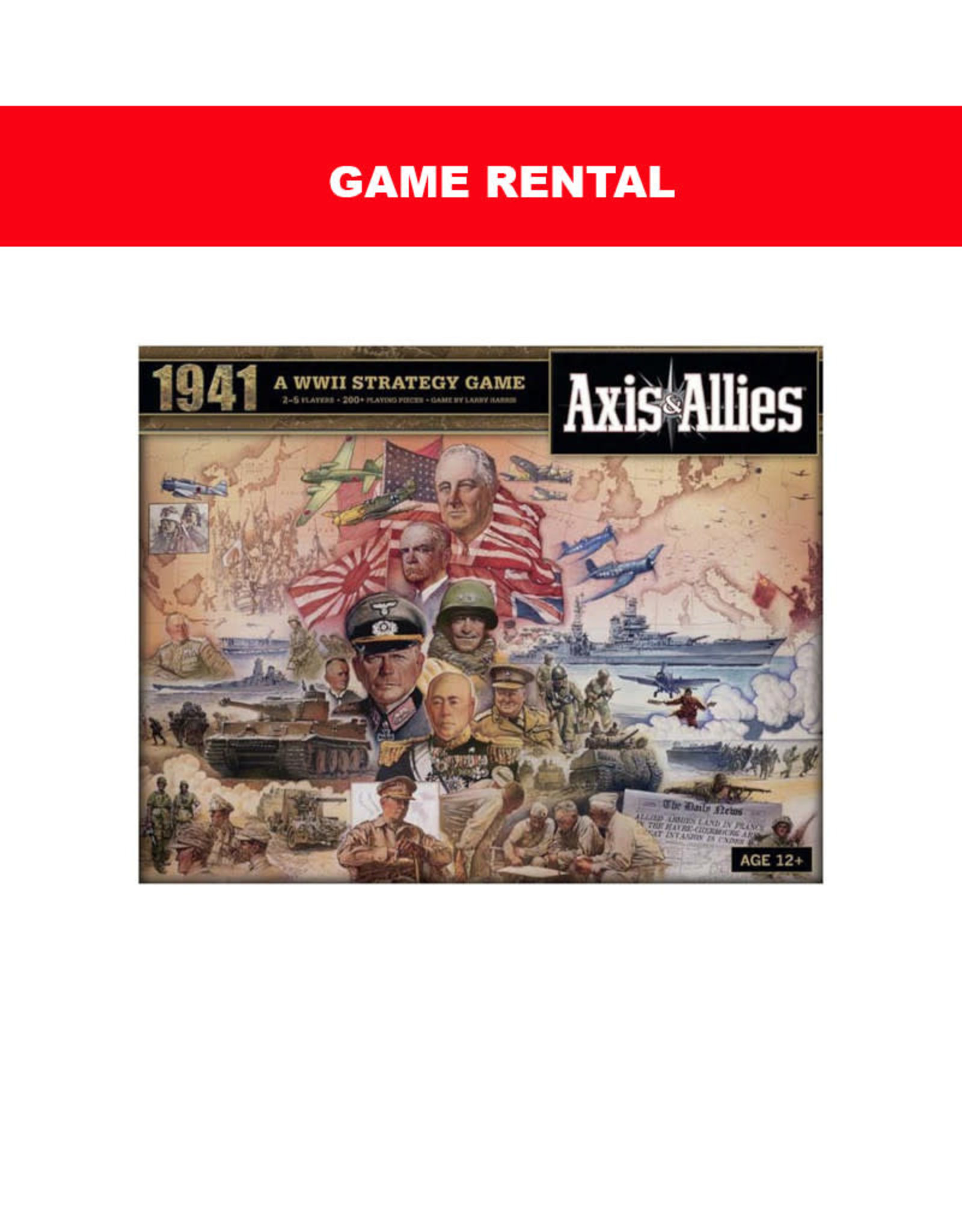 Avalon Hill (RENT) Axis and Allies 1941 Per Day. Love It! Buy It!