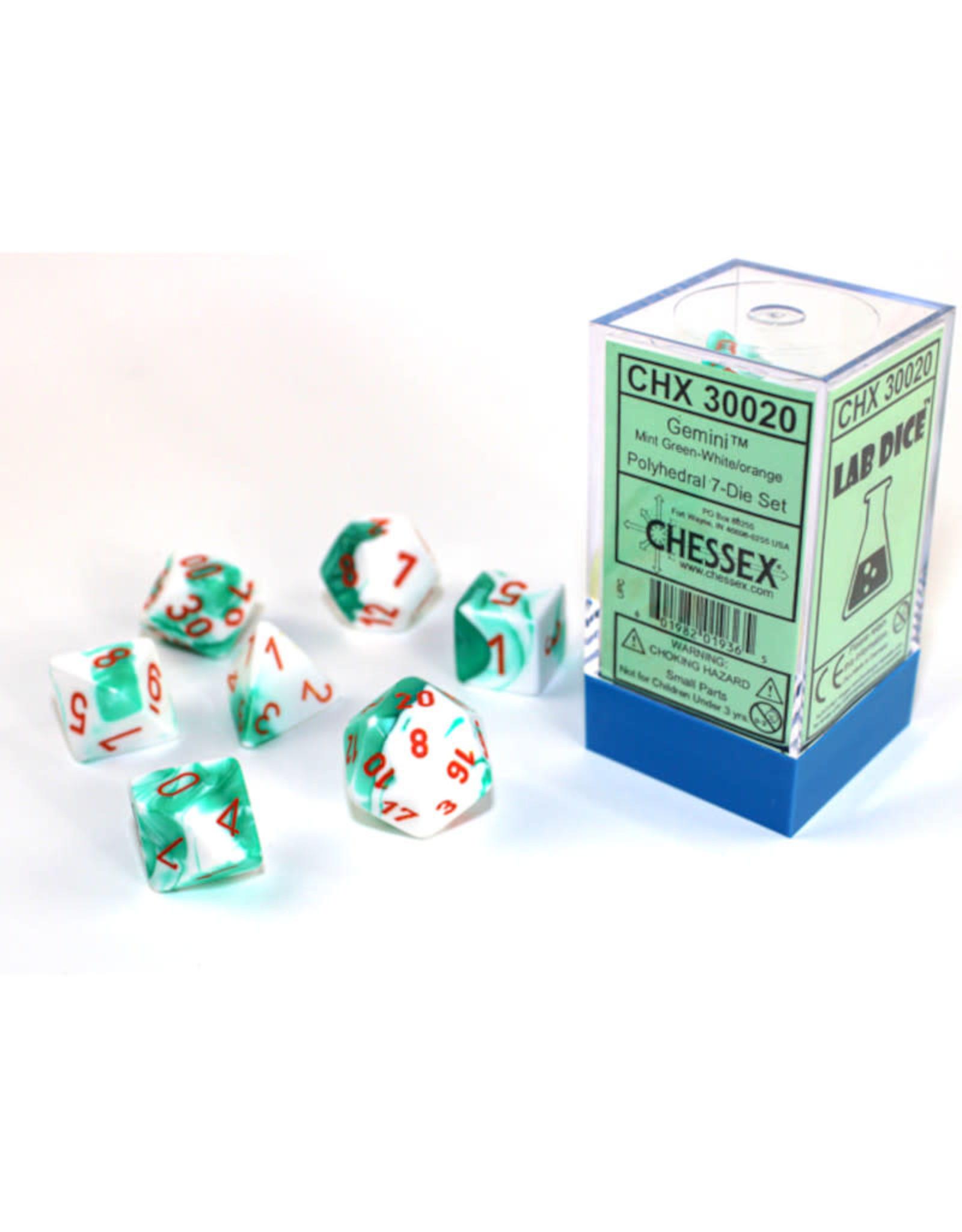 Chessex Polyhedral Lab Dice: Mint Green/White/Orange (7)